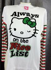 Jr Women Large 11/13 Christmas white Hello Kitty Shirt Always on the nice list