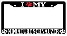 Black License Plate Frame I Heart My Minature Schnauzer (Paw) Auto Accessory