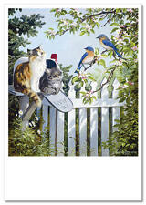 ART Persis Clayton Weirs CATs Two Kittens Bird Mailbox Felin Modern Postcard #73