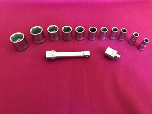 """Craftsman 3/8"""" and 1/4"""" Drive SAE Sockets with Adapter and Extension, 13 pcs."""