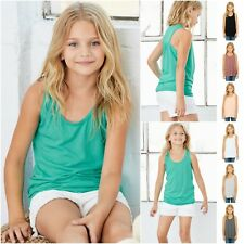 Girls Girlie Flow Flowy Vest Tank Top Drape Racer Back Summer Sun Beach Kids Top