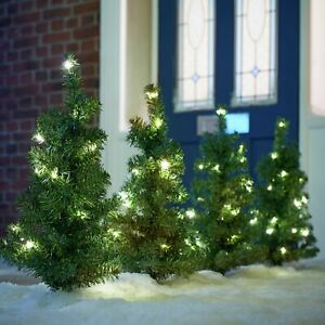 Set of 4 Christmas PreLit Tree Path or Garden Finders Greet Your Guests Xmas