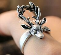 Adjustable Retro Deer Ring Antler Antique Funny Animal Ring Jewelry Unique Gift