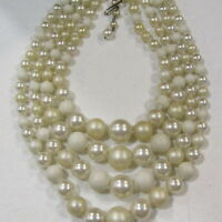Vintage 4 Strand Necklace White Faux Pearl Estate Costume Jewelry