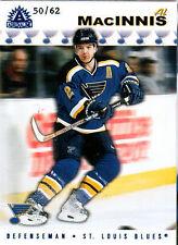 2001-02 Adrenaline MacINNIS Blue /62 #160 St. Louis Blues Pacific Parallel AL