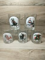 Norman Rockwell Saturday Evening Post Glasses Vintage Set of 5