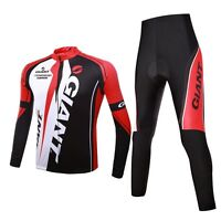 Quick Dry long Sleeve Giant Cycling Mens Jersey+pants Outdoor sport Red  white 0b61c041f