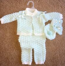 Newborn Baby Boy or Girl Knitted Outfit Mint Green Jacket Pants Mitts Cap