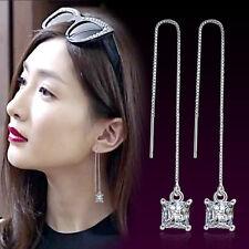 Ladies 925 Sterling Silver  Zircon  Threader Tassels Bohemia Earrings Gifts