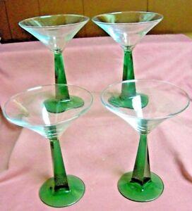 4 Champagne Glasses long Stem Solid Glass Emerald Green