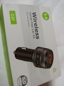Wireless Handsfree Car Kit FM Transmitter  Dual USB Charger