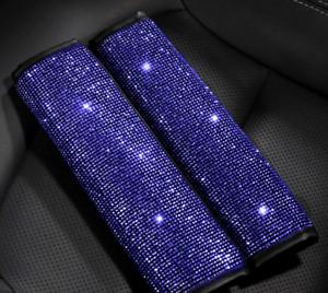 2pcs Bling Blue Crystal Diamond Car Truck Seat Safety Belt Shoulder Pads Covers