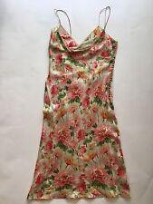 Christian Dior Floral Silk Dress Pink/Green Size 8