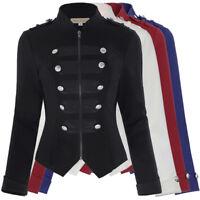 Women Military Button Decorated Zipper Blazer Long Sleeve Jacket Stand Collar