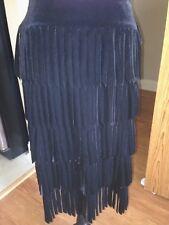 Tadashi Skirt Size Med Solid Black Velvet Polyester Blend   H-11