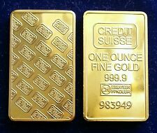 CREDIT SUISSE ONE OUNCE INGOT IN FINE GOLD 999 PLACCATO ORO 24k DA COLLEZIONE