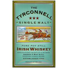 TYRCONNELL IRISH WHISKEY :EMBOSSED(3D) METAL ADVERTISING SIGN 30x20cm HORSE RACE