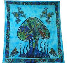 Couverture indienne Tenture Champignon turquoise et multicolore Coton Ameubleme