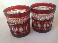 2 Vintage Ruby Red Cut To Clear Bohemian Crystal Glasses Old Fashion Rocks