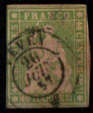 SUISSE : HELVETIA Papier moyen 30a, Oblitéré = Cote 90 € / Lot Timbre ETRANGER
