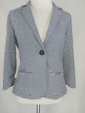 Tulle Women's Blazer Blue and White Striped Lightweight Jacket 3/4 Sleeve size S