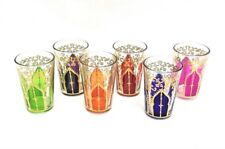 Hand Painted Moroccan Arch Doors Tea Glasses Shot Glasses- Set of 6