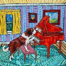 saint bernard piano art tile coaster gift new impressionism artist animals new