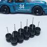Hot Wheels 4 Spoke Rubber Tire 5 set BLACK Xtra Long Axle Nissan Fairlady Porshe