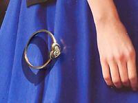 Vintage Heart Diamond Stylish Sterling Silver Ring Size I
