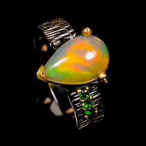 Classic Art Design 11x8 mm. Opal Ring Silver 925 Sterling  Size 8.25 /R178070