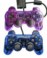 Lot of 2 Wired Gaming Controllers For PS2 Double Shock Clear Purple And PlayStat