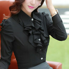 Women Long Sleeve Blouses Office Tops Ruffle Shirts Tops Stand Collar OL Tops FG