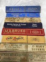 Eight Empty Straight Razor Boxs Vintage Used Barbershop Shaving