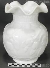 Scarce Vintage Fenton Apple Tree White Milk Glass #1561 Crimped Top Vase (GG)