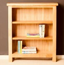 Small Oak Bookcase Solid Wood Furniture Rustic Wooden Storage Narrow Shelving