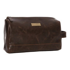 Shruti Brown Mans Wash Bag Travel Toiletry Mens Shaving Faux Leather Fathers Day