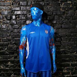 England Team Jersey Sleeveless Football Shirt Blue Umbro Mens Size 2XL