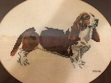 Bassett Hound Hand Cross-stitched Art Professionally Framed Under Glass