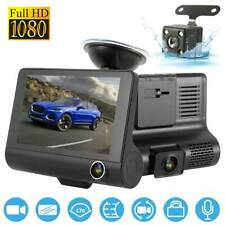 "1080P Car DVR 4""Dual 3 Lens Dash Cam Front&Rear Video Recorder Camera G-sensor"