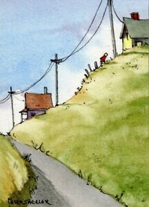 "ACEO 2.5""x3.5"" Original Watercolor Peter Sheeler powerlines farm house hilltop"