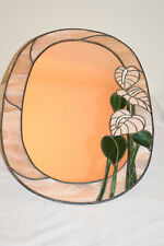 Decorative Lead Light Wall Mirror Salmon Pink Floral Design Oval Shape