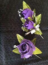 Wedding Flowers Purple  Double Rose & Single Rose Buttonhole