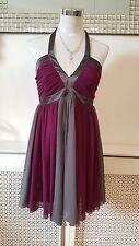 Lipsy Ribena Purple Grey Silky Ruched Goddess Roman Halter Dress Size 10 12 BNWT
