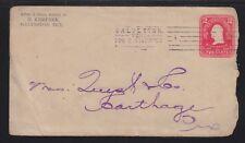 USA 1904 2c WASHINGTON POSTAL STATIONERY COVER GALVESTON TO CARTHAGE TEXAS