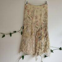 Vtg 90s Yellow Viscose & Silk Florals Patch Panel Maxi Skirt S-M Boho Hippy Midi