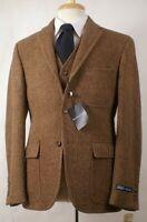Wool Blend Men's Suit Vintage Herringbone Casual Tweed Groom Tuxedo Wedding Suit