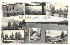 RPPC Big Bear Lake, CA Multiview Fish Creel, Lodge ca 1940s Frashers Postcard