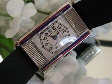 1930's Ladies Art Deco Blue & Red Parisienne Enamel Elgin Watch~ Runs