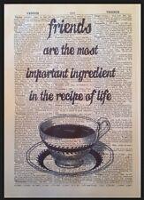 Amico preventivo STAMPA VINTAGE dizionario pagina WALL ART PICTURE Regalo Caffè Tè Carino