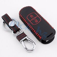 2 Buttons Leather Key Case FOR Mazda 2 3 CX3 CX4 CX5 Fob Bag Holder Accessories